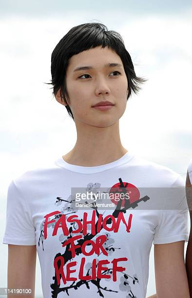 Model Tao Okamoto attends the Fashion For Relief Japan Appeal photocall at the Majestic Hotel Pier on May 15 2011 in Cannes France