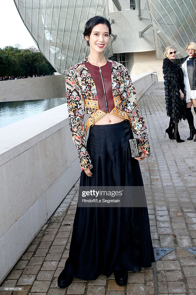 Model Tao Okamoto attends the Louis Vuitton show as part of the Paris Fashion Week Womenswear Spring/Summer 2016. Held at Fondation Louis Vuitton on October 7, 2015 in Paris, France.