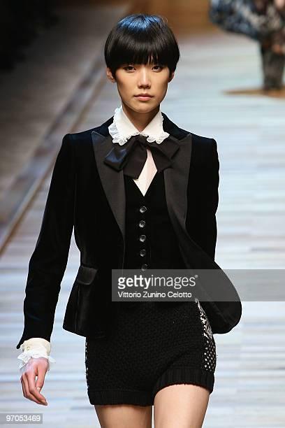 Model Tao Okamoto walks the runway during the D&G Milan Fashion Week womenswear Autumn/Winter 2010 show on February 25, 2010 in Milan, Italy.