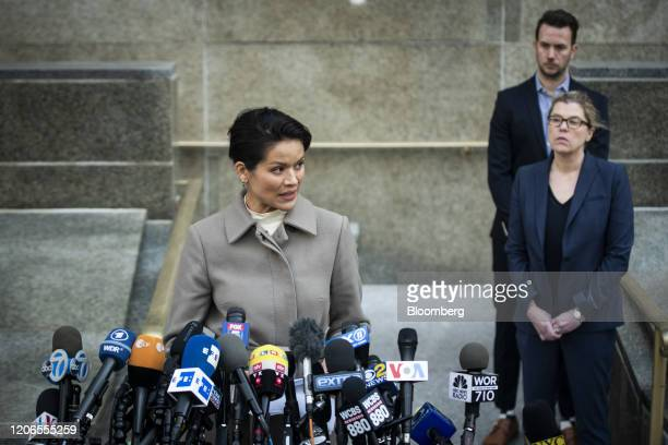 Model Tarale Wulff an alleged victim of former Weinstein Co CoChairman Harvey Weinstein speaks to members of the media outside state supreme court in...