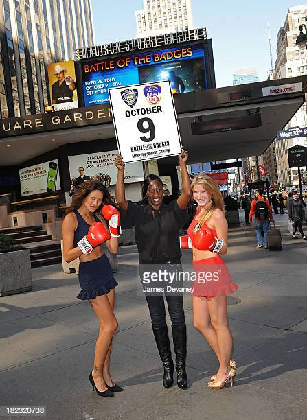 Model Tarale Wulff designer Nicole Young and model Annmarie Nitti promote Battle of the Badges boxing tournament between NYPD and NYFD at Madison...