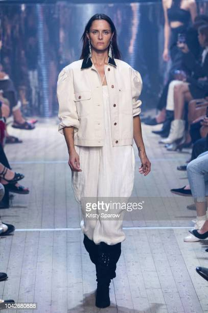 Model Tasha Tilberg walks the runway during the Isabel Marant show as part of Paris Fashion Week Womenswear Spring/Summer 2019 on September 27 2018...