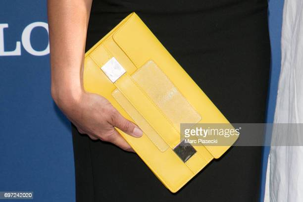 Model Tatiana Silva Braga Tavares clutch bag detail attends the 'Prix de Diane Longines 2017' on June 18 2017 in Chantilly France