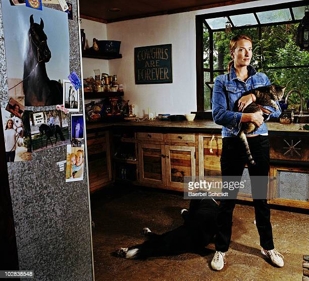 Model Tatjana Patitz poses at a portrait shoot in 2004 at her home in Los Angeles