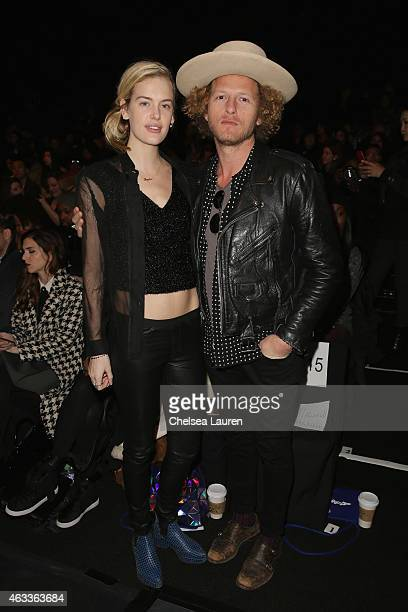 Model Taylor Bagley and designer Ben Schulman attend the Mongol fashion show during Mercedes-Benz Fashion Week Fall 2015 at The Theatre at Lincoln...