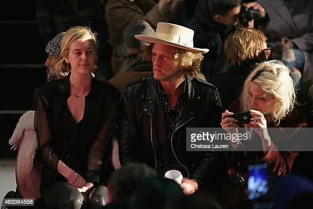 Model Taylor Bagley, designer Ben Schulman, and model Cory Kennedy attend the Mongol fashion show during Mercedes-Benz Fashion Week Fall 2015 at The...