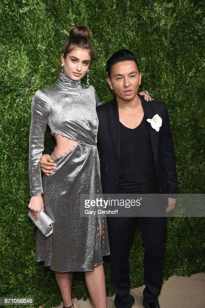 Model Taylor Hill and designer Prabal Gurung attend the 14th Annual CFDA/Vogue Fashion Fund Awards at Weylin B Seymour's on November 6 2017 in the...