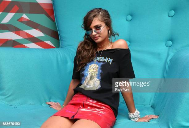 Model Taylor Hill attends HM Loves Coachella Tent during day 1 of the Coachella Valley Music Arts Festival at the Empire Polo Club on April 14 2017...