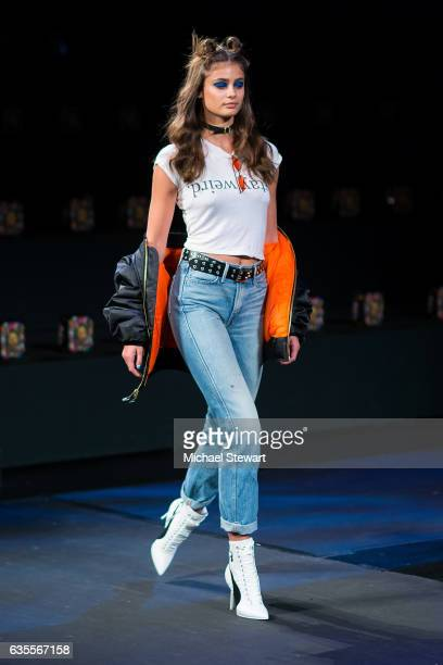 Model Taylor Hill attends the Anna Sui fashion show during February 2017 New York Fashion Week The Shows at Gallery 1 Skylight Clarkson Sq on...