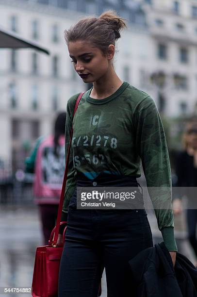 Model Taylor Hill outside Versace during Paris Fashion Week Haute Couture F/W 2016/2017 on July 3 2016 in Paris France
