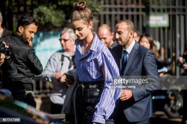Model Taylor Hill seen outside Miu Miu during Paris Fashion Week Spring/Summer 2018 on October 3 2017 in Paris France