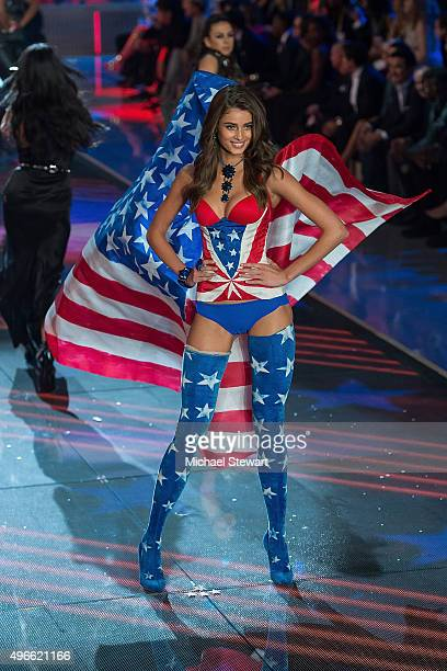 Model Taylor Hill walks the runway during the 2015 Victoria's Secret Fashion Show at the Lexington Armory on November 10 2015 in New York City