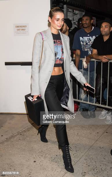 Model Taylor Marie Hill is seen leaving the FENTY PUMA by Rihanna Spring/Summer 2018 Collection at Park Avenue Armory on September 10, 2017 in New...