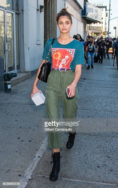 Model Taylor Marie Hill is seen leaving the Michael Kors Spring 2017 Runway Show during New York fashion week at Spring Studios on September 14 2016...