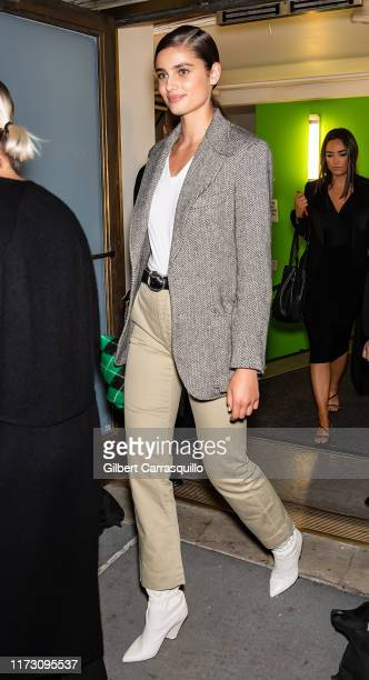 Model Taylor Marie Hill is seen leaving the Ralph Lauren Fashion Show during New York Fashion Week at Ralph's Club on September 07, 2019 in New York...