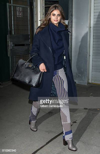 Model Taylor Marie Hill is seen outside Diane Von Furstenberg Presentation Fall 2016 New York Fashion Week on February 14 2016 in New York City
