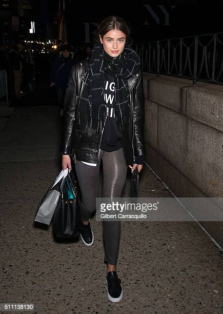 Model Taylor Marie Hill is seen outside the Marchesa Fall 2016 fashion show during New York Fashion Week at The Dock Skylight at Moynihan Station on...