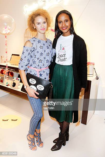 Model Taynara Wolf and model Sara Nuru attend the Iphoria store opening on December 6 2016 in Berlin Germany