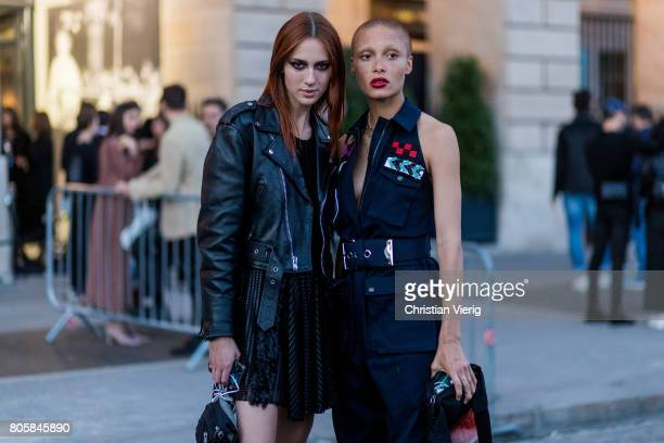 Model Teddy Quinlivan and Adwoa Aboah outside Miu Miu Cruise Collection during Paris Fashion Week Haute Couture Fall/Winter 20172018 Day One on July...