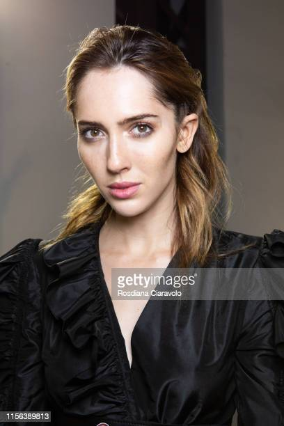 Model Teddy Quinlivan at the John Richmond backstage during the Milan Men's Fashion Week Spring/Summer 2020 on June 16 2019 in Milan Italy