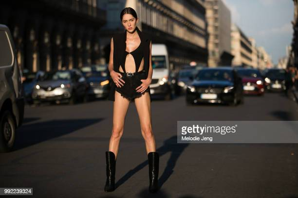 Model Teddy Quinlivan during the Couture Fall 2018 shows on July 3 2018 in Paris France