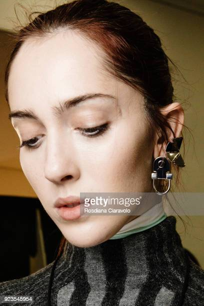 Model Teddy Quinlivan is seen backstage ahead of the Sportmax show during Milan Fashion Week Fall/Winter 2018/19 on February 23 2018 in Milan Italy