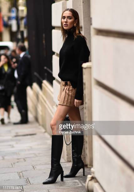 Model Teddy Quinlivan is seen outside the Altuzarra show during Paris Fashion Week SS20 on September 28 2019 in Paris France