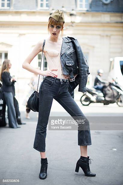 Model Teddy Quinlivan poses after the Jean Paul Gaultier show during Paris Fashion Week Haute Couture FW 16/17 on July 6 2016 in Paris France