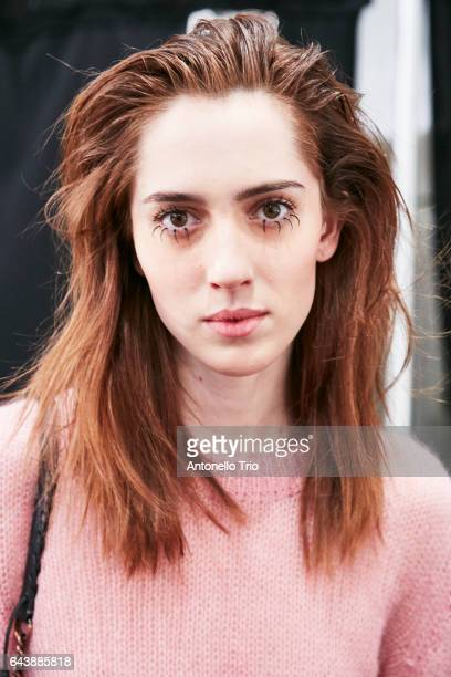 Model Teddy Quinlivan poses backstage at Jeremy Scott Fall/Winter 2017 Show during New York Fashion Week at Gallery 1 Skylight Clarkson Sq on...
