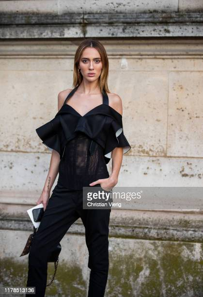 Model Teddy Quinlivan seen outside Louis Vuitton during Paris Fashion Week Womenswear Spring Summer 2020 on October 01 2019 in Paris France