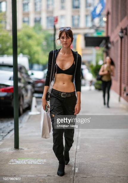 Model Teddy Quinlivan wearing cropped top is seen outside Jeremy Scott during New York Fashion Week Spring/Summer 2019 on September 6 2018 in New...