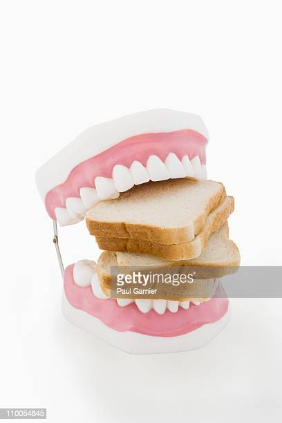 model teeth biting bread - dentadura de brinquedo - fotografias e filmes do acervo