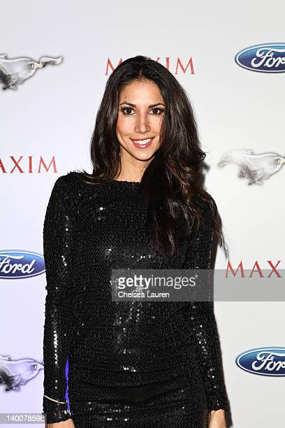 Model / television personality Leilani Dowding arrives at the Maxim late night party with Ford Mustang Customizer on February 26 2012 in Los Angeles...