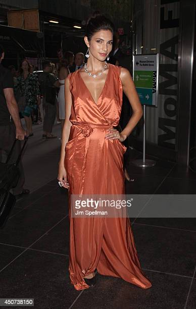 Model Teresa Moore attends the Yves Saint Laurent Couture Palette The Cinema Society premiere of The Weinstein Company's Yves Saint Laurent at Museum...