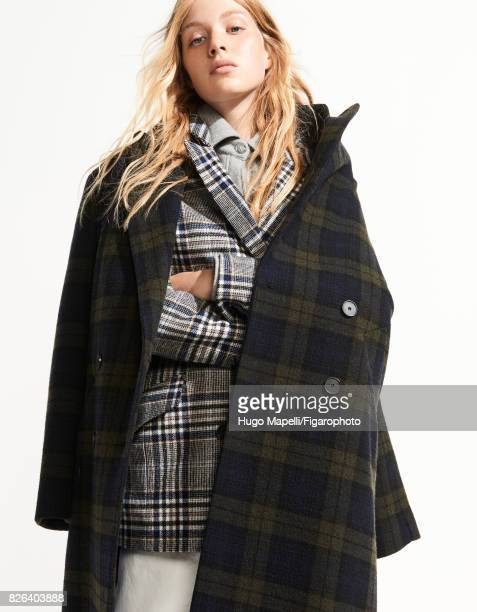 Model poses at a fashion shoot for Madame Figaro on June 30 2017 in Paris France Coat jacket shirt jeans PUBLISHED IMAGE CREDIT MUST READ Hugo...