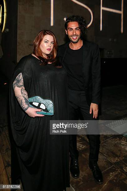 Model Tess Holliday and Joey Maalouf pose for a photo at the FabFitFun and Joey Maalouf's ISH Launch Party at Above SIXTY Beverly Hills on March 3...