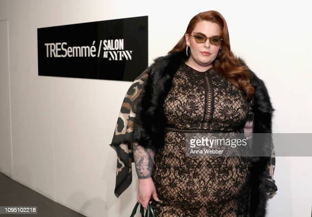 Model Tess Holliday in the VIP lounge during NYFW: The Shows at Spring Studios on February 7, 2019 in New York City.