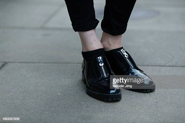 Model Tessa Bennenbroek wears black oxford Zara shoes outfit during London Fashion Week Spring Summer 2016 on September 19 2015 in London England