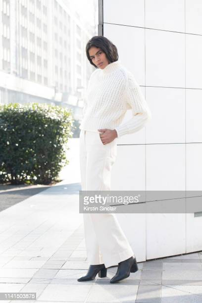 Model Thalita Farias wears all HM on February 27 2019 in Paris France