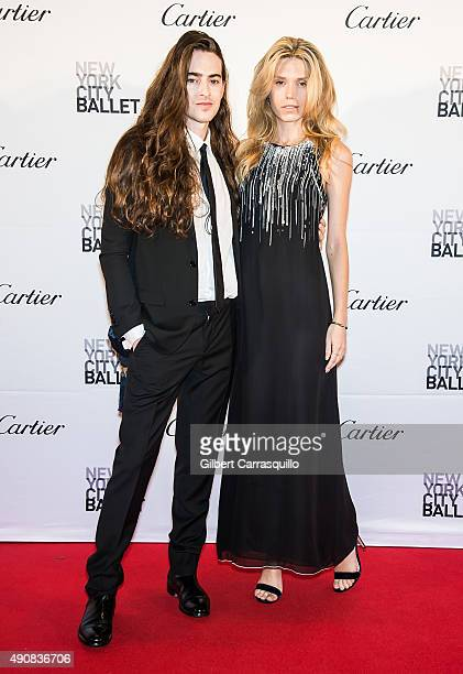 Model Theodora Richards and guest attend the 2015 New York City Ballet Fall Gala at David H Koch Theater at Lincoln Center on September 30 2015 in...