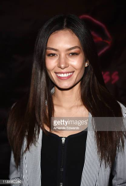 Model Tia Hemphill arrives at the Los Angeles premiere of 'KISS KISS' at the Ahrya Fine Arts Theater by Laemmle on March 05 2019 in Beverly Hills...