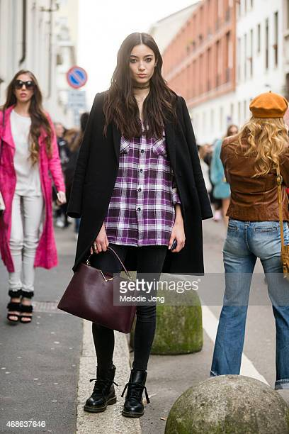 Model Tiana Tolstoi exits the Roberto Cavalli show on Day 4 of Milan Fashion Week FW15 on February 28 2015 in Milan Italy
