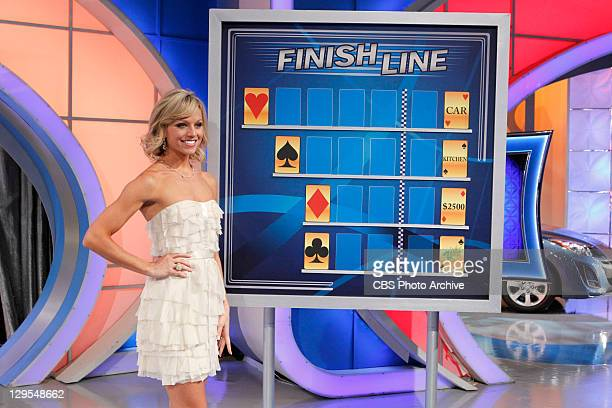 SHOW #VT3045 Model Tiffany Coyne stands beside the game Finish Line as she awaits the next move of a dealer on Let's Make a Deal airing Friday...
