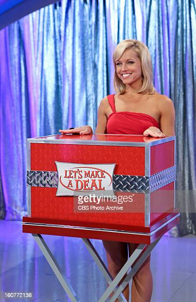 Model Tiffany Coyne waits for her cue to unveil what'™s in the box on a special Valentines Day episode of LET'S MAKE A DEAL Thursday Feb 14 on the...