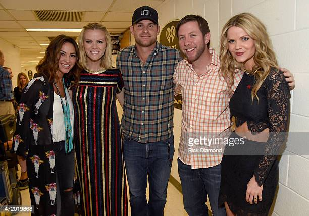 Model Tiffany Fallon actress Brooklyn Decker professional tennis player Andy Roddick and radio personalities Lunchbox and Amy Moffett pose backstage...