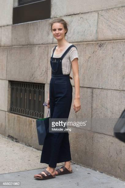 Model Tilda Lindstam wears Birkenstock sandals on Day 5 of New York Fashion Week Spring/Summer 2015 on September 8, 2014 in New York City.