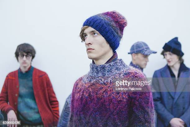Model Tim Dibble is seen backstage ahead of the Missoni show during Milan Men's Fashion Week Fall/Winter 2017/18 on January 15 2017 in Milan Italy
