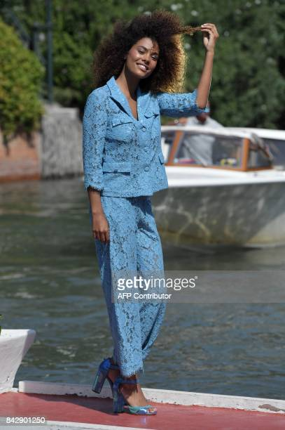 Model Tina Kunakey arrives at the Excelsior Hotel during the 74th Venice Film Festival on September 5 2017 at Venice Lido / AFP PHOTO / Tiziana FABI