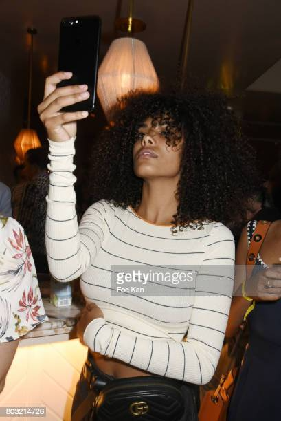 Model Tina Kunakey attends the Havaianas Loves Samba Concert Party at Alcazar on June 28 2017 in Paris France