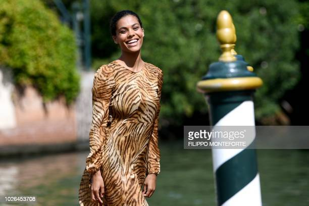 Model Tina Kunakey Cassel arrives at the pier of the Excelsior Hotel on September 3 2018 during the 75th Venice Film Festival at Venice Lido